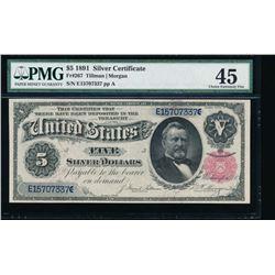 1891 $5 Silver Certificate PMG 45