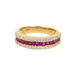 14KT Yellow Gold 1.08ctw Ruby and Diamond Ring