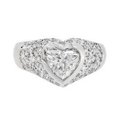 18KT White Gold 1.65ctw Heart Shaped Diamond Ring