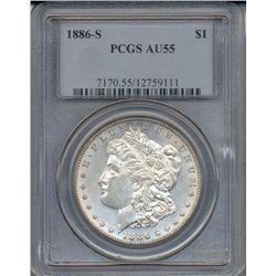 1886-S $1 Morgan Silver Dollar Coin PCGS AU55