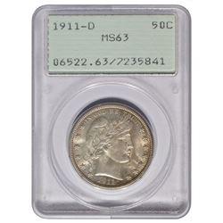 1911-D Barber Half Dollar Coin PCGS MS63