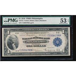 1918 $1 Philadelphia Federal Reserve Bank Note PMG 53EPQ