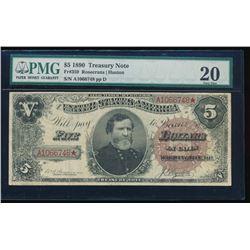 1880 $5 Treasury Note PMG 20