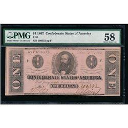 1862 $1 Confederate States of America Note PMG 58