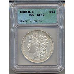 1882-O/S $1 Morgan Silver Dollar Coin ICG EF40