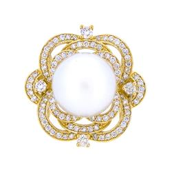 18KT Yellow Gold 13.5mm South Sea Pearl and Diamond Ring