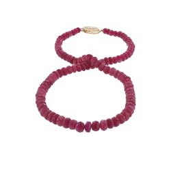 14KT Yellow Gold 120.00ctw Ruby Beaded Necklace