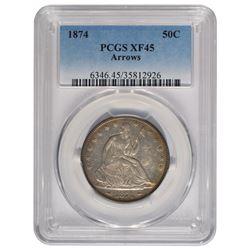 1874 Seated Liberty Half Dollar Coin PCGS XF45