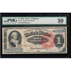 1866 $1 Martha Washington Silver Certificate PMG 30