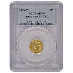 2008-W $5 Buffalo 1/10 oz Gold Coin PCGS MS70