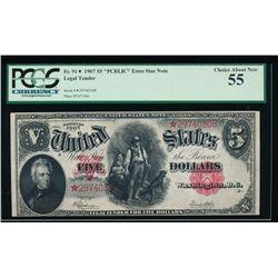 1907 $5 Legal Tender PCBLIC Error Star Note PCGS 55