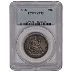 1858-S Seated Liberty Half Dollar Coin PCGS VF35