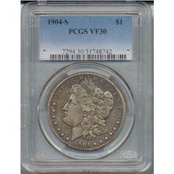 1904-S $1 Morgan Silver Dollar Coin PCGS VF30