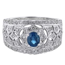 14KT White Gold 0.55ct Blue Sapphire and Diamond Ring