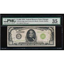 1928 $1000 Chicago Federal Reserve Note PMG 35