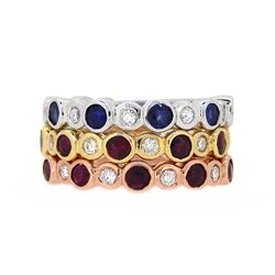 14KT Tri Color Gold 2.51ctw Ruby, Blue Sapphire and Diamond Ring