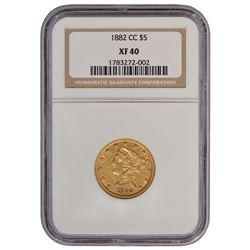 1882-CC $5 Liberty Head Half Eagle Gold Coin NGC XF40