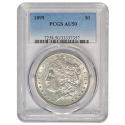 1899 $1 Morgan Silver Dollar Coin PCGS AU-50