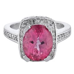 14KT White Gold 5.00ct Pink Topaz and Diamond Ring