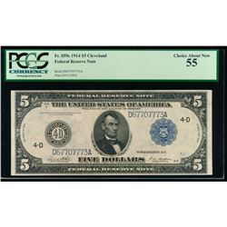 1914 $5 Large Cleveland Federal Reserve Note PCGS 55