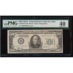 1934A $500 St. Louis Federal Reserve Note PMG 40