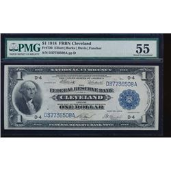 1918 $1 Cleveland Federal Reserve Bank Note PMG 55