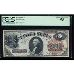 1880 $1 Legal Tender Note PCGS 58