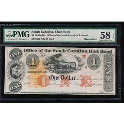 1840s-70s $1 South Carolina Railroad Note PMG 58EPQ