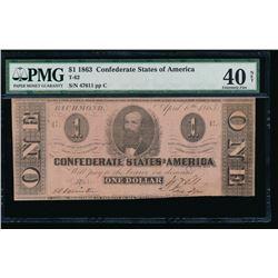 1863 $1 Confederate States of America Note PMG 40NET
