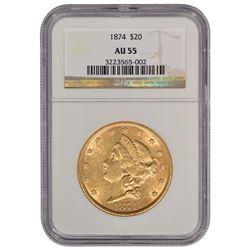 1874 $20 Liberty Head Double Eagle Gold Coin NGC AU55