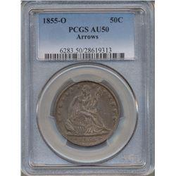1855-O Arrows Liberty Seated Half Dollar Coin PCGS AU50