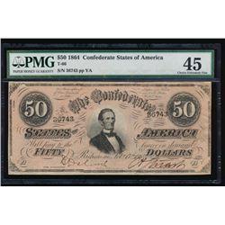 1864 $50 Confederate States of America Note PMG 45
