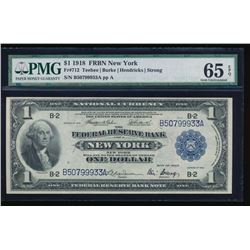 1918 $1 New York Federal Reserve Bank Note PMG 65EPQ