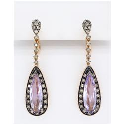 Levian 14KT Rose Gold Amethyst and Diamond Earrings