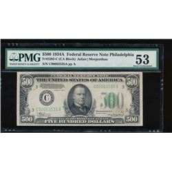 1934A $500 Philadelphia Federal Reserve Note PMG 53