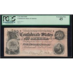 1864 $500 Confederate States of America Note PCGS 45