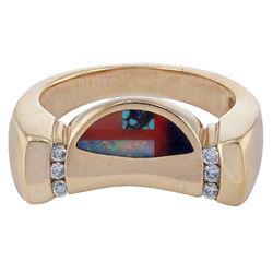 14KT Yellow Gold Multi Stone Diamond Ring