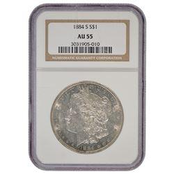 1884-S $1 Morgan Silver Dollar Coin NGC AU55