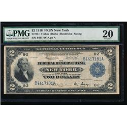 1918 $2 New York Federal Reserve Bank Note PMG 20