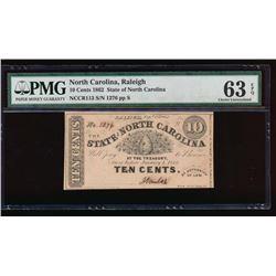 1862 Ten Cent North Carolina Obsolete Note PMG 63EPQ