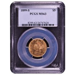 1899-S $5 Liberty Head Half Eagle Gold Coin PCGS MS63