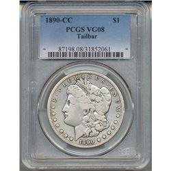 1890-CC $1 Morgan Silver Dollar PCGS VG08 Tailbar