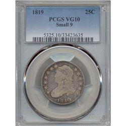 1819 Liberty Bust Quarter Coin PCGS VG10
