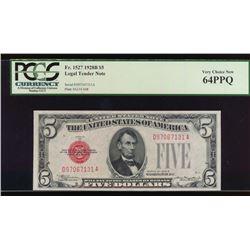 1928B $5 Legal Tender Note PCGS 64PPQ