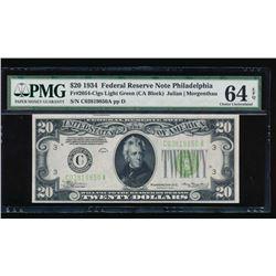 1934 $20 Philadelphia Federal Reserve Note PMG 64EPQ