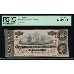1864 $20 Confederate States of America Note PMG 63PPQ