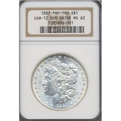 1887 $1 Morgan Silver Dollar NGC VAM12 MS62