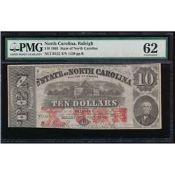 1863 $10 State of North Carolina Obsolete Note PMG 62