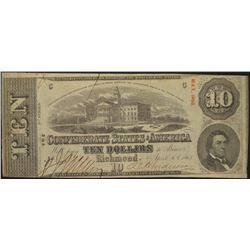 1863 $10 Confederate States of America Note