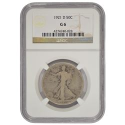 1921-D Walking Liberty Half Dollar Coin NGC G6